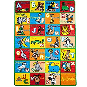 Kids Rug Alphabet Animals Area Rug 5′ x 7′ Children Area Rug for Playroom & Nursery – Non Skid Gel Backing (59″ x 82″)