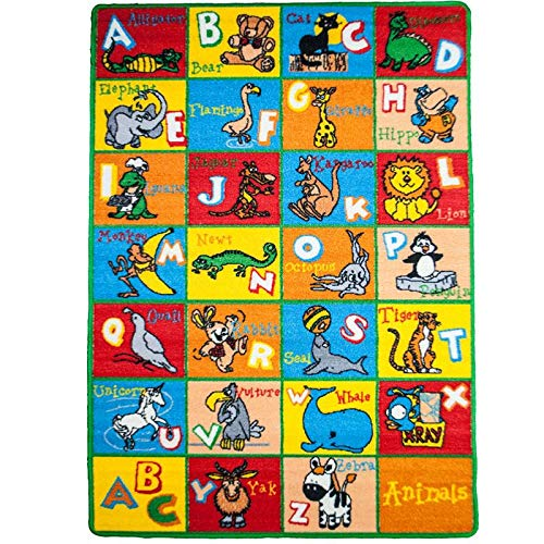 "Mybecca Kids Rug Alphabet Animals 3' X 5' Children ABC Area Rug for Playroom & Nursery - Non Skid Gel Backing (39"" x 56"")"