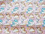 Tela unicornios rosas por metros 1 unidad 0.50 m. x 1.60m 2 unidades 1 m x 1.60 m confeccionar cortinas, cojines, canastillas, vestidos,100% algodon manualidades de CHIPYHOME
