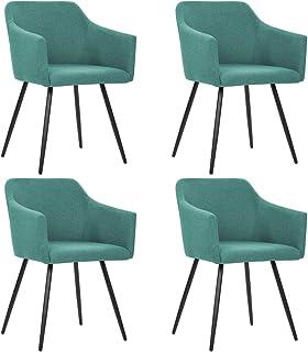 UnfadeMemory Conjunto de Sillas de Comedor,Sillas de Cocina,Sillas de Oficina,Estructura de Acero,Diseño Moderno,54x54,5x81cm (4uds, Tela Verde)