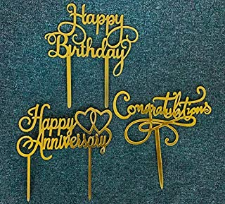 3 styles Cake Decoration Acrylic Cake Toppers Happy Anniversary (1 style GOLD), Congratulations (1 style GOLD), Happy Birt...