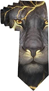 Men's Polyester Slim Neckties, formal Party Meeting Conference Suit Neckties - Golden Cool Lion King Paninting