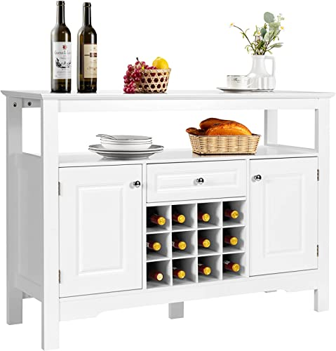 2021 Giantex outlet sale Buffet Server Wood Cabinet Sideboard Cupboard Table Kitchen Dining Room Restaurant Furniture Wine Cabinet with Wine Rack Open Shelf Drawer online Cabinets (White) outlet online sale