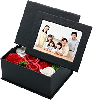 passiongleam(パッショングリーム) ソープフラワー ボックス 写真立て フォトフレーム 母の日 記念日 誕生日 プレゼント ギフト (ブラック)