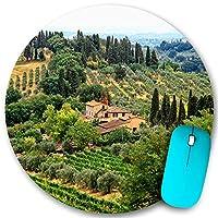 KAPANOU ラウンドマウスパッド カスタムマウスパッド、イタリア、トスカーナの風光明媚な農家のブドウ園と美しい夏の風景、PC ノートパソコン オフィス用 円形 デスクマット 、ズされたゲーミングマウスパッド 滑り止め 耐久性が 200mmx200mm