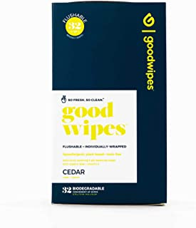 Goodwipes Flushable Men's Cleansing Butt Wipes with Aloe, Vitamin-E for Travel, Cedar Scented, Hypoallergenic, 100% Biodeg...