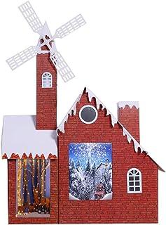 SSBH 150cm de neige de Noël Musique Moulin à vent Chalet, Décoration de Noël Maison Neige, Jardin extérieur Décor Mall Hôt...