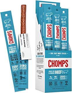 CHOMPS Grass Fed Sea Salt Beef Jerky Snack Sticks, Keto, Whole30, Paleo, Gluten Free, Sugar Free, Low Carb, AIP Diet Compl...