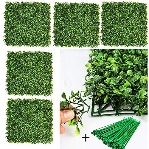 DearHouse Künstliche Buchsbaum-Pflanzen, 50,8 x 50,8 cm, Sichtschutz-Hecke, UV-geschützt, geeignet für draußen, drinnen, Garten, Zaun, Hinterhof und Dekoration, 12 Stück