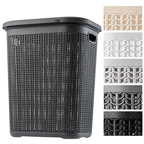 KADAX Wäschekorb, 50L, multifunktionale Wäschetruhe mit Deckel, Leichter Wäschesammler, Wäschesortierer aus Kunststoff, für Bad, schmutzige Kleidung, Spielzeug, Wäschebox (anthrazit)