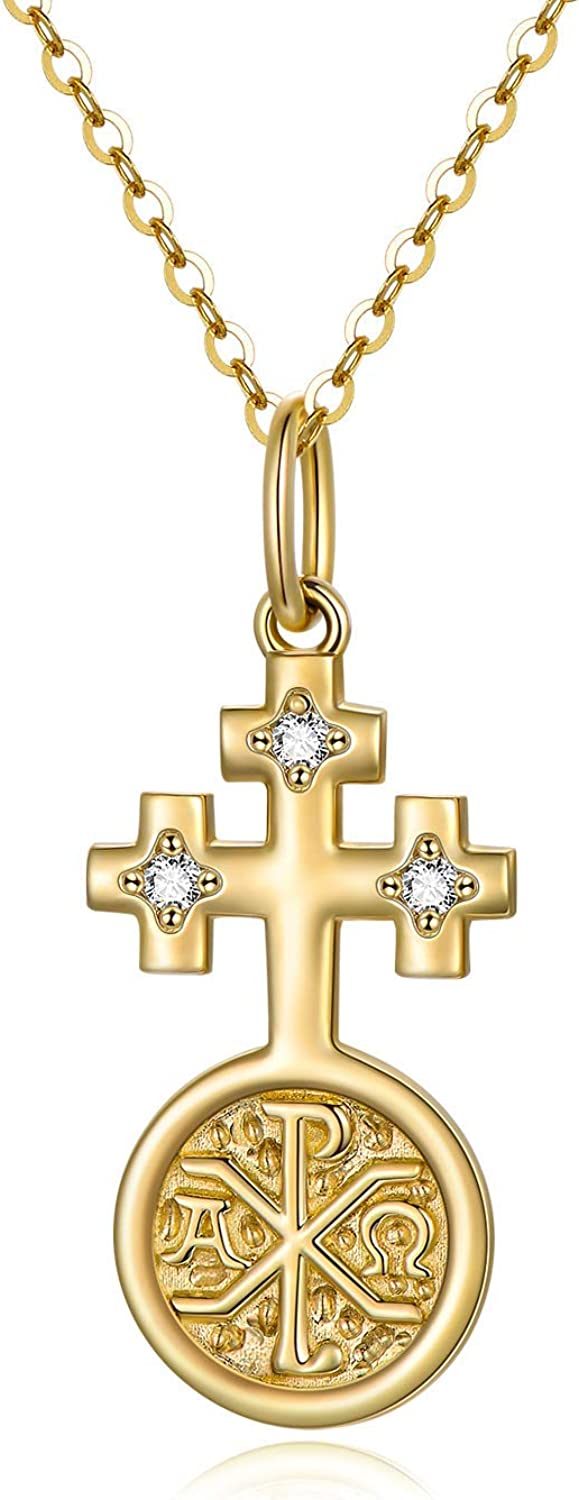 14K Real Deluxe Gold Cross Necklace Women Yellow Blessed for New sales Fait