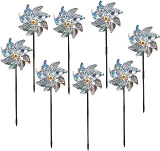 EACILLES Bird Deterrent Pinwheels – Holographic Mylar Repellent Pin Wheel Spinners to Keep Birds Away, Set of 8