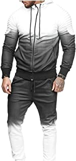 Maweisong Men Sport Sweatsuit Hood Jackets 2 Pieces Tracksuits Sets