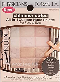 Physicians Formula Shimmer Strips All-In-1 Custom Nude Palette For Face & Eyes-Natural Nude-0. 26 oz
