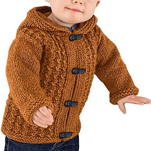 Cardigã de tricô com capuz e botão Hestenve para bebês e crianças, Marrom, 110CM/(3-4T)