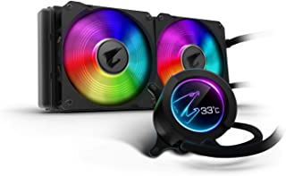 AORUS RGB AIO Liquid Cooler 280, 280mm Radiator, Dual 140mm Windforce PWM Fans, Customizable Full Color LCD Display, Advanced RGB Lighting and Control, Intel 115X/2066, AMD AM4, TR4