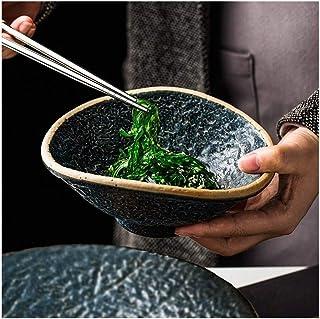 Bowl Retro irregular ceramic bowl of cereal fruit platter 6.5-inch soup bowl creative cutlery stone Household tableware, r...