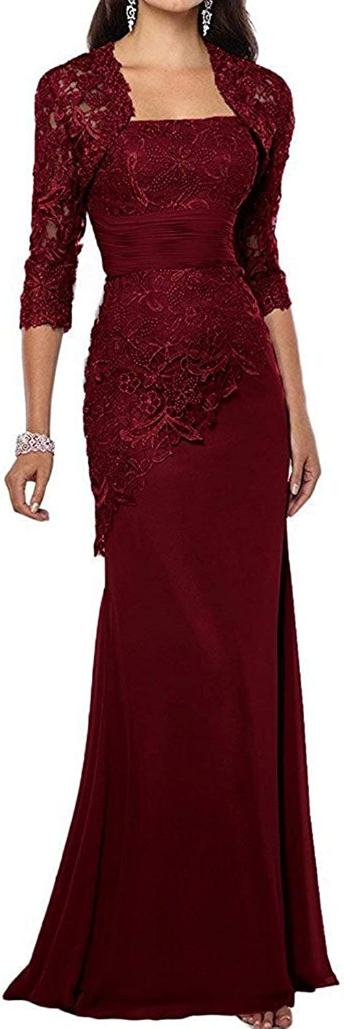 QiJunGe Mother of The Bride Dresses Mermaid Lace Appliques Party Evening Gowns