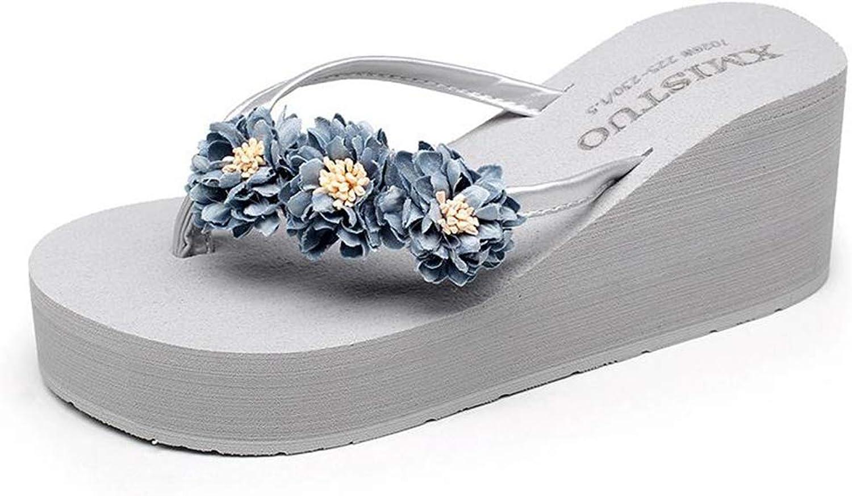 Hoxekle Woman's Cute Flower Wedge Platform Thong Flip Flops Girl Sweet Beach Casual Slip On Slipper