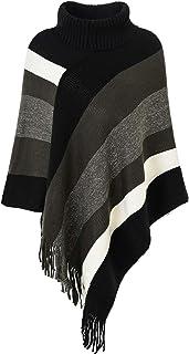 Ferand Rayas de cuello alto suéter de gran tamaño Poncho con flecos dobladillos para las mujeres One Size Actualizado cuel...