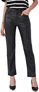 Faux Leather Pants for Women, Straight Leg Mid Waist Butt...