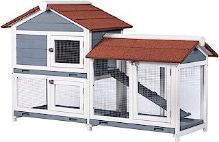 "Good Life Two Floors 62"" Wooden Outdoor Indoor Roof Waterproof Bunny Hutch Rabbit Cage Guinea Pig Coop PET House for Small..."