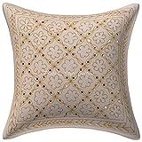 Stylo algodón de Cultivo Tradicional Almohada Cubierta de Oro Zari Lentejuelas Bordadas 16x16 Blanco Cubierta Floral