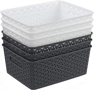 Farmoon Lot de 6 paniers de rangement en plastique tissé 8 litres (blanc et gris)