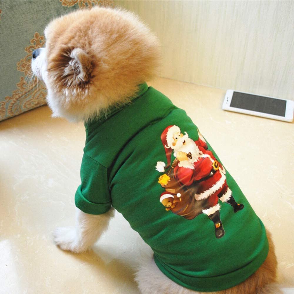 Spritumn Christmas Sweaters Outfits Santa Claus Print Costumes Winter Xmas Pet Clothes Shirts Coats Jackets