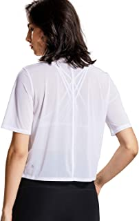 CRZ YOGA Women's Mesh Short Sleeve Moisture Wicking See Through Bonded Hem Cropped Sport Shirts