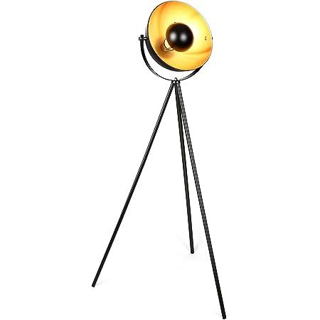 Albrillo Lampadaire Vintage - Rétro Design Lampe à Pied avec Culot E27, Ø 32 cm Abat-jour et Max. 60W Ampoule, 360° Orientable, 140 cm Métal Lampadaire Trépied pour Salon chambre, Noir Doré