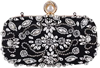HUIfenghe Europe and The United States New Ladies Handbags Handmade Beaded Evening Bag Soft face Evening Dress Party Bag Clutch Bag Black Pink Size: 19 * 9 * 5cm (Color : Black)