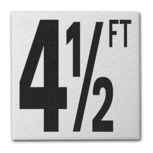 Aquatic Custom Tile Ceramic Swimming Pool Deck Depth Marker 4 1/2 FT Abrasive Non-Slip Finish, 5 inch Font