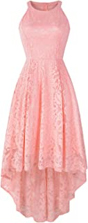 Yuanlar Women's Halter Lace Floral Cocktail Party Dress Hi-Lo Prom Bridesmaid Dress Formal Swing Dress