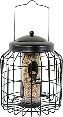 Sunnydaze Outdoor Hanging Wild Bird Feeder, Steel Wire Caged, 4-Peg, 12-Inch, Black