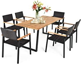 Tangkula 7PCS Outdoor Dining Set, Patio Dining Furniture Set w/Large Rectangle Acacia Wood Table Top, Rattan Chairs with S...