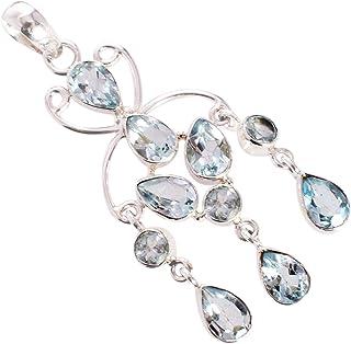 Ravishing Impressions Jewellery Colgante de plata de ley 925 con piedra de topacio azul de Londres FSJ-5327