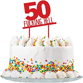 Funny 50th Birthday Cake Topper Sign Cut from 3mm Red Acrylic for Men & Women Party Decorations Supplies
