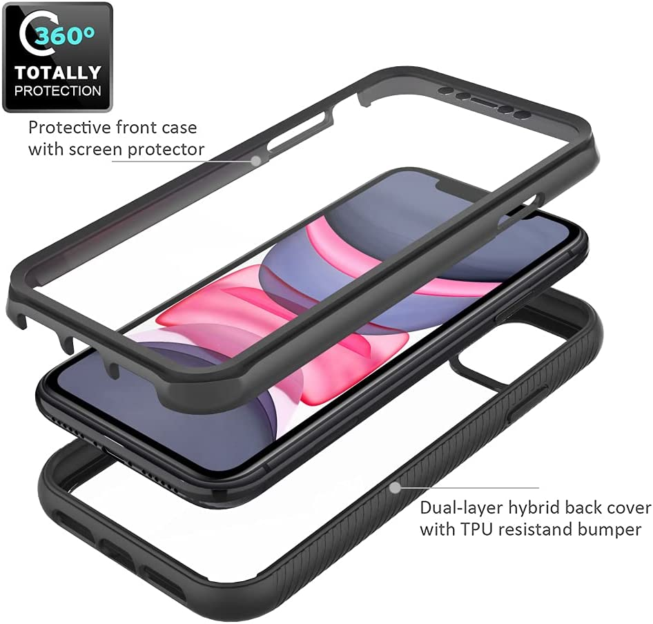 THMEIRA Compatible for iPhone 11 Case, Built-in Screen Protector,Full Body Protection Dust Proof Shockproof Bumper Cover for iPhone 11,Black/Clear(6.1