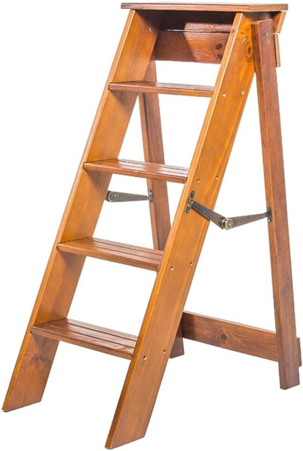 PENGFEI Folding Ladder Stool Stairs Solid Wood Multifunction Portable Home Renovation Herringbone Ladder Safety Stable 5 Steps 3 colors Furniture (color   Light Walnut)
