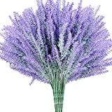 WILLBOND 12 Pieces Artificial Lavender Plants Lifelike Faux Silk Flowers for Weddings Home Garden decoration Indoor Outdoor DIY Floral Arrangements