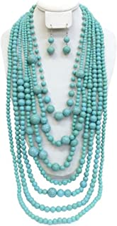 Statement Turquoise Simulated Stone Beaded Layered Strands Long Beads Necklace Earrings Set Gift Bijoux