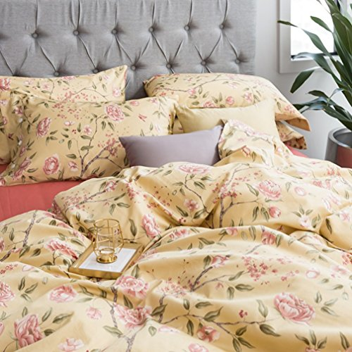 Eikei Modern Watercolor Flowers Print Duvet Quilt Cover 3pc Set Lilac Orchid Magnolia Blossom Leaf Branches Cotton Sateen 300tc Luxury Floral Bedding (King, Apricot Sand)