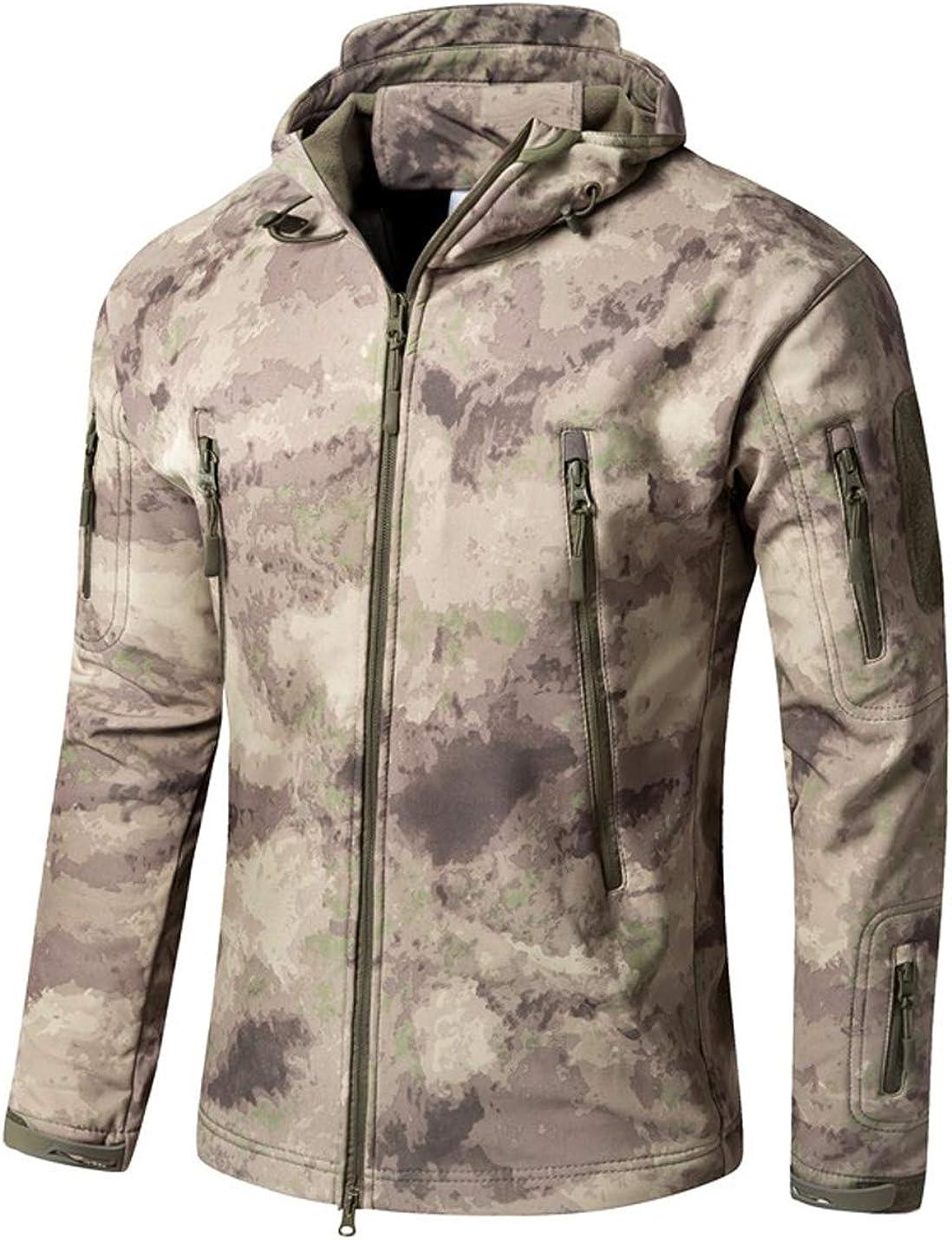 Gihuo Men's Outdoor Tactical Camo Hooded Softshell Fleece Jacket