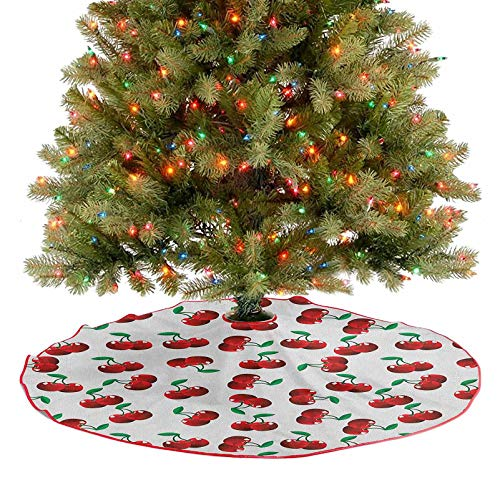 Homesonne Tree Skirt Vibrant Cherries Vitamin Agriculture Exotic Summer Garden Pattern Xmas Tree Holiday Decorations Goes Perfectly with Your Tree Ruby Hunter Green Coconut 48 Inch