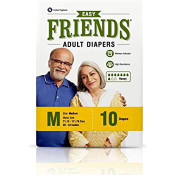 Friends Easy Adult Diapers Medium Size, Waist 28-44 Inc, High Absorbency Anti-Bacterial Core, 10s PACK