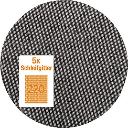 kwb Quick-Stick Schleifgitter-Scheibe K 220 – für Langhalsschleifer, 225 mm Ø, aus Fiberglas, gelocht mit Klett (5 Stk.)
