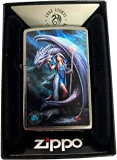 Zippo Custom Lighter - Classic Street Chrome Anne Stokes Collection Fantasy Blue Dragon Mage Woman
