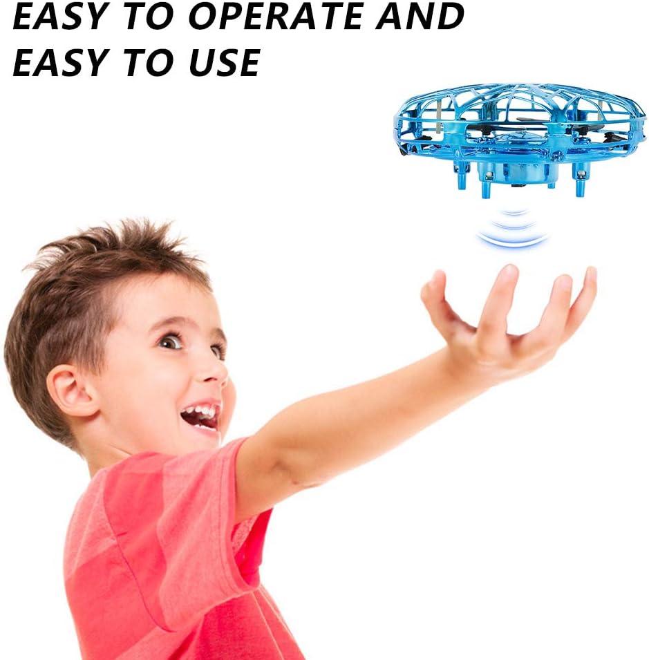 UFO Mini Drohne Fliegendes Kinder Spielzeug Flugdrohne mit 360 /° Drehung Fliegender Ball Spielzeug mit LED Leuchten Geschenke f/ür Jungen M/ädchen Erwachsene Einfache Indoor Outdoor Blau