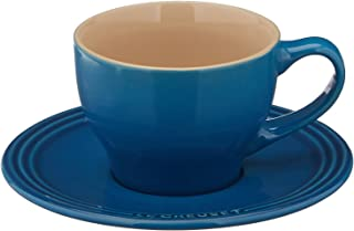Le Creuset PG8000-0559 Stoneware Set of 2 Cappuccino Cups and Saucers, Marseille